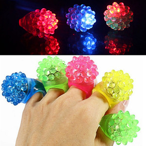 Strawberry Glow Light Ring Torch LED Finger Ring Lights Flash Beams Light Bumpy Rings Halloween Party LED Toys Wedding