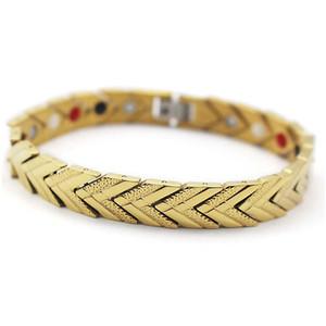 Fabricant Direct Vente Or Placage Magnétique Thérapie Bracelets Lien Chaînes Infrarouge Ray Négatif Ions Équilibre Énergie saine bracelet