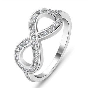Sonsuza sonsuz halka tasarım moda 925 gümüş Aşk Infinity Sonsuz Knot lasies parmak yüzük modern takı seviyorum