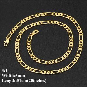 """18k Real Banhado A Ouro 5mm 51cm 20 """"3: 1 Colar de cadeia Figaro para homens Correntes de ouro Moda Jóias Presente"""
