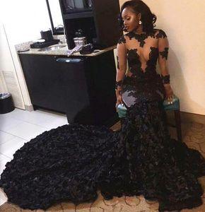 Sheer manga comprida preto meninas vestidos de baile 2017 sereia o pescoço tule lace apliques flor zipper-up tribunal vestidos de festa de trem