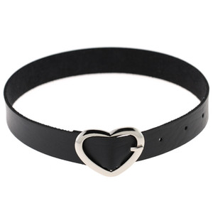 Gothic Metal Heart Love Choker Necklace Pin Buckle Adjustable Leather PU Women Collar Bracelet Bangle for Women Fashion Jewelry Drop Ship