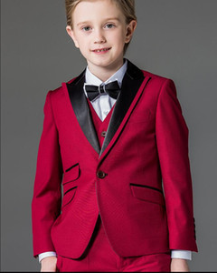 Custom Made Rose Red Boy's Ropa formal Ocasión Boda Niños Tuxedos Flower Boys Personalizar el traje de los niños