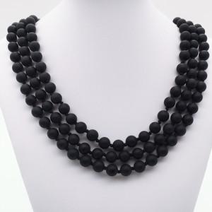 Collana lunga in onice nera opaca annodata a mano da 8 pollici e 8 pollici, collana in onice nera 8mm, collana di pietre preziose, regali