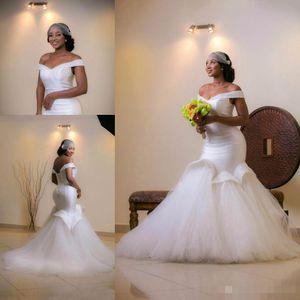 Sexy Off Shoulder African Wedding Dress Mermaid Beaded Plus Size Arabic Custom Made Bridal Gown