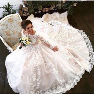 С плечами с длинными рукавами шаровые платья кружева свадебное платье шампанское цветное платье с цветом Vestido de Festa