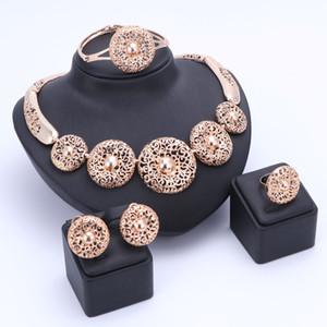 OUHE Nigerianischen Perlen Hochzeit Schmuck Set Braut Dubai Gold Überzogene Halskette Ohrring Schmuck Sets Afrikanischen Perlen Schmuck-Set