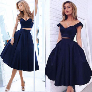 Elegant Navy Blue A Line Sweetheart Satin 2 pieces Short Party Dress Formal Tea Length Graduation Prom Gowns Robe De Cocktail