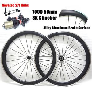 Superficie freno in lega di alluminio! Ruote bici in carbonio 700C 50mm Ruote bici da corsa 3K Lucido / opaco con ruote Novatec 271