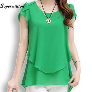 Al por mayor- Soperwillton 2017 nuevas mujeres del verano blusa camisa suelta O-cuello blusa de la gasa blusa femenina de manga corta más el tamaño 5XL camisas D378