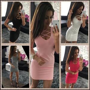 2017 лето Sexy Slim Women Dress сплошной цвет U-образным вырезом Cross-belt Dress рукавов плюс размер пакета хип мода повседневная Dress 170906
