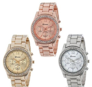 The explosion of Geneva three eye diamond alloy watch women and leisure strip jewelry watches