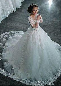 Incrível Tulle Sheer mangas compridas Jewel decote vestido de baile vestidos de casamento Com frisada Lace apliques vestidos de noiva