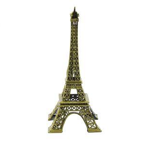 Wholesale- Metal Paris Eiffel Tower Decor Sculpture Model Figurine Stand Vintage Home Office Decoration ArtCraft Birthday Present Gift