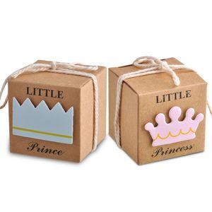 Princesse ou Prince Candy Box Kraft Papier Baby Shower Coffrets Cadeaux De Noce Décoration Faovrs Couleur Jaune Nouveau