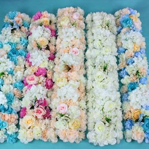 flor de la boda flores de plomo carretera centros de mesa larga flor arco de la puerta adornos de seda rosa decoración del telón de fondo de la boda