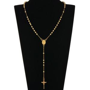 Moda HIp Hop Rosario Pray Bead Jesus Cross Collane lunghe pendenti con collane per uomo donna