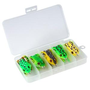 5pcs / box Mix Topwater Frog Señuelo de pesca Artificial Frog Bait Falda Doble Crank Hook Tackle Bass Simulation Kit de pesca suave