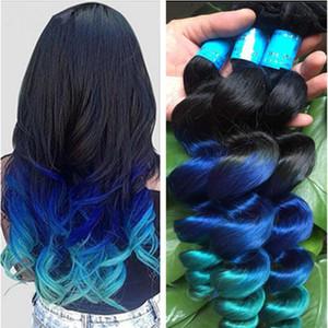 New Arrive Ombre Loose Wave Hair Extensions 3Pcs Lot Three Tone 1B Blue Green Ombre Brazilian Wavy Human Hair Weave Bundles