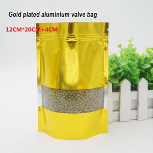 12 * 20 + 4 cm de folha de alumínio de ouro auto-styled stand bag Food grade material de embalagem de Alimentos loja de Ornamentos sacos Spot 100 / pacote