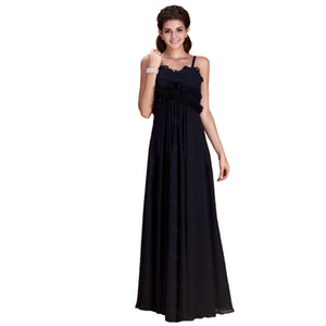 2018 New Arrival Black Long A-Line Spaghetti Chiffon With Ruffle Backless Formal Evening Dress Bridesmaid Prom Gowns