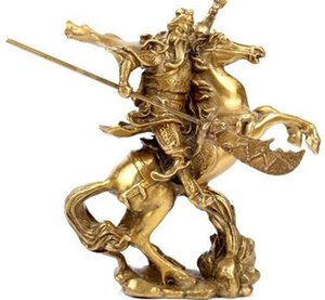 Colección del antiguo héroe chino Guan Yu Ride on Horse Copper Statue