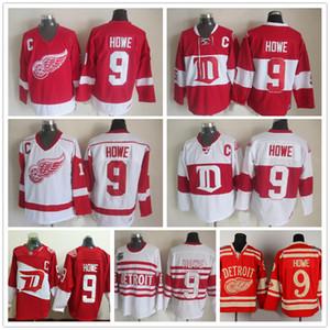 무료 배송 남성 도매 디트로이트 레드 윙 # 9 Gordie Howe 하키 유니폼 싸구려 빈티지 겨울 클래식 레드 화이트 Gordie Howe C 패치