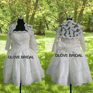 Vintage 50's Vestido de Noiva Foto reale Breve Puffy Ball abito da sposa con maniche lunghe giacca a fiori arco abiti da sposa abiti fatti a mano
