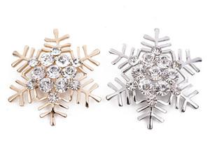 Qualidade cristal Rhinestone floco de neve Broches altos para o presente de Natal Mulheres Moda broche retro da estrela Corsage 2 opções de cores