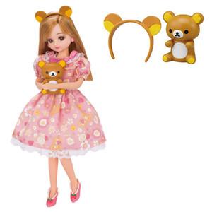 Orijinal Licca bebek aksesuarları licca doll için elbise ayı kafa çilek ayakkabı 1/6 blyth doll elbise