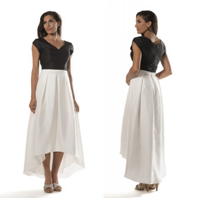 Black And White High Low Modest Bridesmaid Dresses With Sleeves Vintage Taffeta Country Simple Wedding Guests Dresses New Custom Made