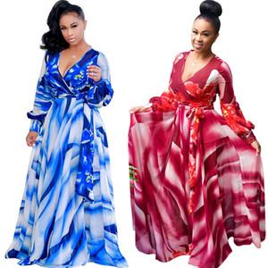 Longueur maxi robe bleue à manches longues imprimé floral avec ceinture en ligne