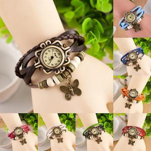 Vintage femmes bracelet montres en cuir tressé multi-couche bronze papillon bracelets pour dames rondes cas quartz montres bijoux