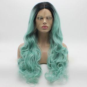 Iwona Saç Dalgalı Uzun Koyu Kök Açık Mavi Ombre Peruk 5 # 1B / 5412 Yarım El Bağladı Isıya Dayanıklı Sentetik Dantel Ön Peruk