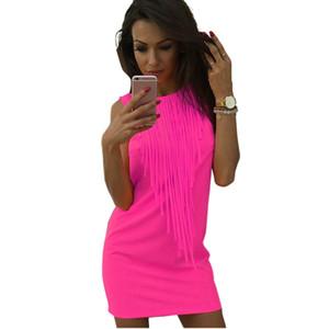 2017 vente chaude Sexy Femmes Robe Gland Fluorescent Solide Couleur D'été Décontracté Robe ras du cou Sans Manches Slim Fit Mini Robe Lady Vestidos