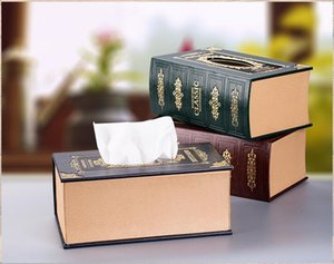 Vente en gros - 2016 boîte à mouchoirs en bois titulaire de serviette en forme de livre de papier hygiénique titulaire livre classique de pompage Carton serviette boîte