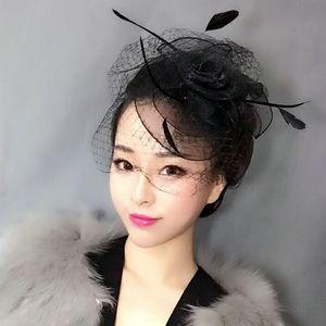 امرأة غطاء الرأس الشعر العروس حقيبة البريد غطاء الرأس الرجعية الحجاب نادي قبعة صغيرة الشعر مثير أحمر أبيض وأسود الشاش غطت وجهه