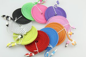 100pcs lot Noodle Braided Micro USB 2.0 Cable Sync Data Charging 1m 2m 3m Cord Flat Woven Fabric Dual Colors for Samsung Galaxy S3 S4 S5