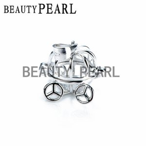 Bulk of 2 Pieces Halloween Gift Pumpkin Carriage Pendant 925 Sterling Silver Jewellery Pearl Cages Locket