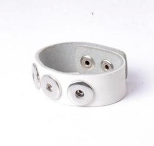 12 renk boncuk DIY snap düğmesi bilezik noosa bracelt fit 18mm charm alaşım deri bilezik takı DIY yapış bileklik halk bilezik 3 adet / grup