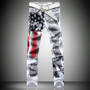 Wholesale- 2017 New Arrival Men Casual American USA Flag Printed Jeans Pants Mens Graffiti Print white hip-hop fashion Jeans