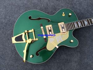 новые лучшие продажи зеленый полый Джаз гитара золото аппаратных средств Бесплатная доставка музыкальные инструменты