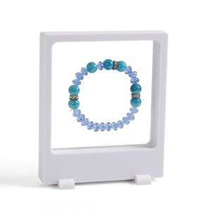 2Pcs 3D trasparente Display gioielli pendente ciondolo orecchino di stoccaggio vetrina PET membrana immagine del display della finestra del display Rack Holder 9 * 11 cm