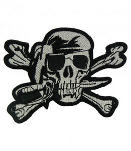 Пиратский череп черный белый патч, пират вышитые железа На или шить на патчи 3.5 дюймов Бесплатная доставка