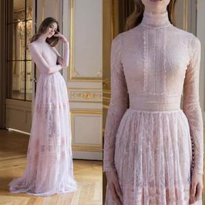 Paolo Sebastian 2018 Rose Prom Robes de mariée manches longues en dentelle Appliqued Robes de soirée Illusion formelle Corsage Party Pageant robe de bal