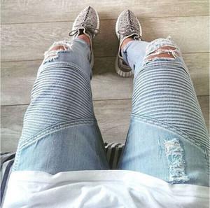 Atacado-Hi-Street Mens rasgado Riker motociclista Jeans Motos Slim Fit Lavado Preto Cinza Azul Moto Denim Calças Corredores Para Homens Magros