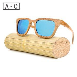 bois de gros-2016 hommes TOP Lunettes de soleil New polarisants bleu Skateboard bois boîte originale Vintage Lunettes de soleil Lunettes