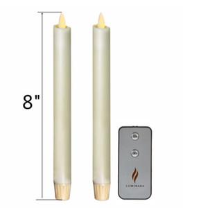 Luminara 8 '' Candlestick Moving Wick Ivory Sem Chama Bateria Operado Taper Velas Conjunto de 2 w / Timer