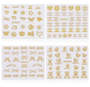 3d Or Nail Art Stickers Autocollants 1 feuille Fleurs Bowkbot Couronne Étoile Conception Métallique Adhésif Feuilles Ongles Conseils Décoration DIY Nail Fournitures