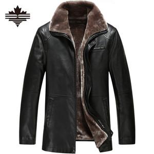Vente en gros- Veste en cuir d'hiver 2017 mode Casual vestes revers revers noir et brun Faux fourrure hommes de haute qualité manteau 3XL 2XL